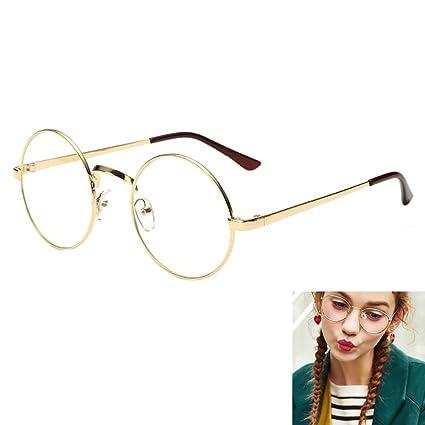 8027a2214c Women Retro Round Glasses Clear lens Metal Frame Vintage Eyeglasses Geek  Sunglass Fancy Dress Golden  Amazon.co.uk  Kitchen   Home