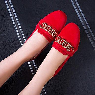 Le donne sexy elegante sandali donna tacchi Primavera Estate altri PU Ufficio Matrimoni & Carriera Party & abito da sera Casual Chunky tacco fibbia altri rosso mandorla grigio , rosso , noi6.5-7 / EU3