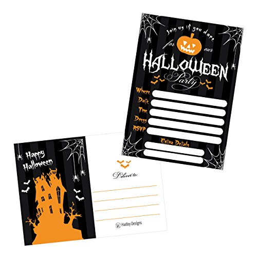(50 Black Halloween Pumpkin Invitations, Kids or Adults Birthday Halloween Party Invites, Monster Trunk or Treat or Trick or Treat Party Invitation, Costume Party Invite)