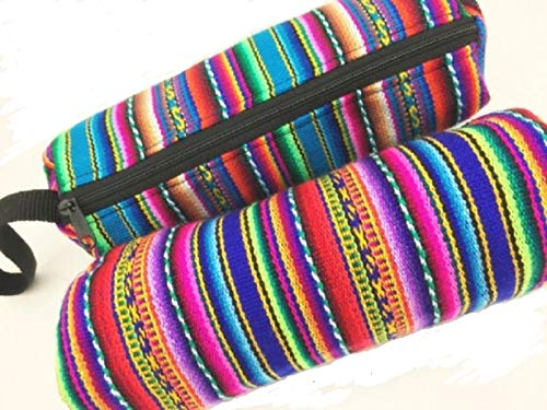 Two Pack Artisan Made Cosmetic Pencil Pouch Coin Purse Purse Insert Cylinder Shaped Manta Woven Cotton Color Assortment