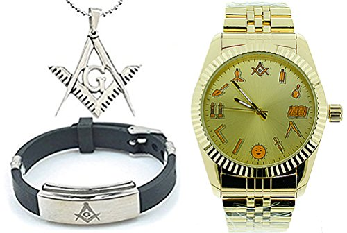 3 Piece Jewelry Set - Freemason Pendant, Bracelet & Masonic Watch on sale. Masonic Watch - Gold Tone Steel Watch - Round Dial Watch w/ Artistic Working Tools Freemasonry Symbolism
