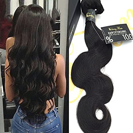 Sunny Alta calidad 1 Bundle 20 Pulgadas Ondulado/Body Wave Pelo Weave Extensions 100% Brasileno Virgen Trama Humano Natural Nergo 100g: Amazon.es: Belleza