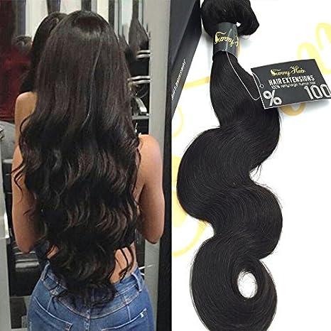 Sunny Alta calidad 1 Bundle 20 Pulgadas Ondulado/Body Wave Pelo Weave Extensions 100% Brasileno Virgen Trama Humano Natural Nergo 100g: Amazon.es: Belleza