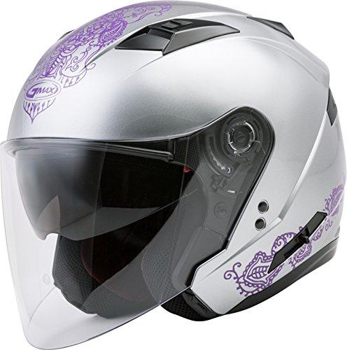 GMAX OF-77 Adult Eternal Open-Face Motorcycle Helmet - Silver/Violet/Large ()