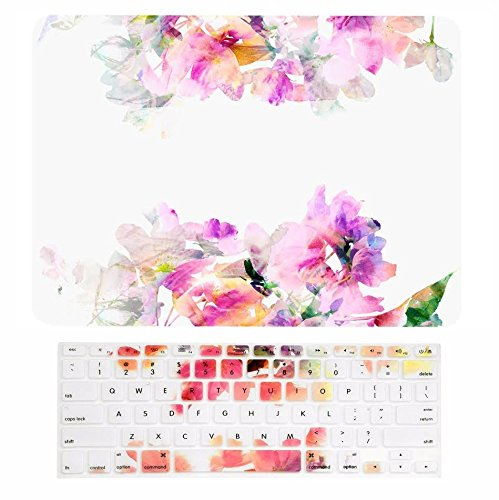 TOP CASE - 2 in 1 Bundle, Floral Reflection Pattern Rubberized Hard Case + Keyboard Cover Compatible with Apple Old Generation MacBook Pro 13