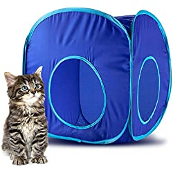 Weebo Pets Pop-Up Cat Play Cube with Storage Bag (Blue)