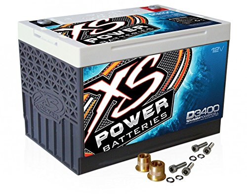 XS Power D3400 12V AGM 3300A Car Audio Battery/Cell+FREE 580 Top-Post Terminals (Best Car Stereo Battery)