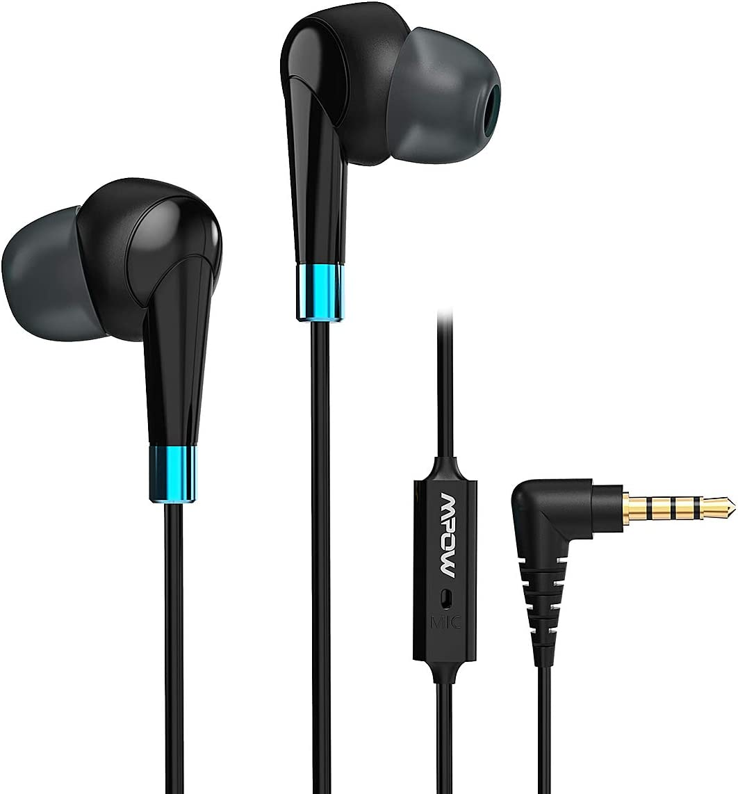 Mpow WH7 Wired Earphones, in-Ear Stereo Headphones with Mic, Secure-Fit Lightweight Earbuds with in-line Control, Compatible with Samsung, Android Phone, PC and More