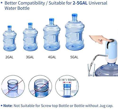 水ボトルポンプディスペンサー、USB充電自動飲料水ポンプ5ガロンボトルポータブル電気水ディスペンサーポンプホームキッチンオフィスに最適,ブルー