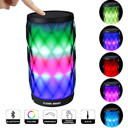 Bluetooth Speakers Wireless LED Touch Control Colorful Night Light Built-in Mic, AUX and Hands Free Speaker for Home and Party / Beach / Picnic / Outdoor Portable Bluetooth (Diamond Forward Controls)