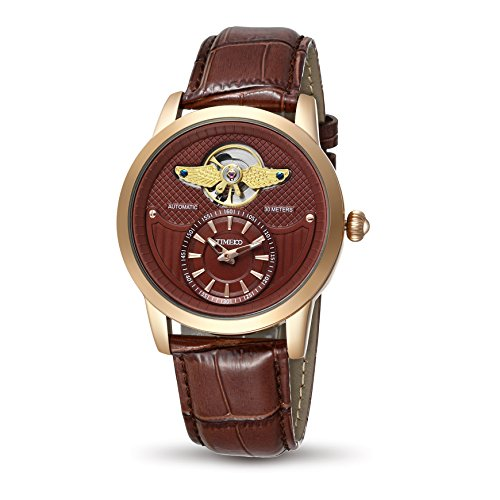 Time100 Army-series Automatic Skeleton Genuine Leather Band Men's Mechanical Wrist Watch #W70052G.03A