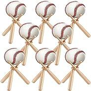 DSYLAI 8 Sets Wooden Baseball Stand Display Holder, with Mini Baseball Bats and Wooden Circles for Baseball Pl