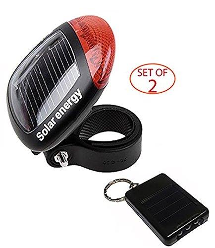 SleekLighting Solar Energy LED Bike Light + LED Keychain - Durable Plastic Build - Environmentally Friendly, Easy to (Bike Light Key Chains)