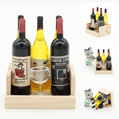 Odoria 1:12 Miniature 5 Wine Bottles and A Glass Cup in Wooden Case Dollhouse Kitchen Accessories