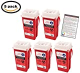 Sharps Container 2 Quart - Plus Vakly Biohazard Disposal Guide (5 Pack)