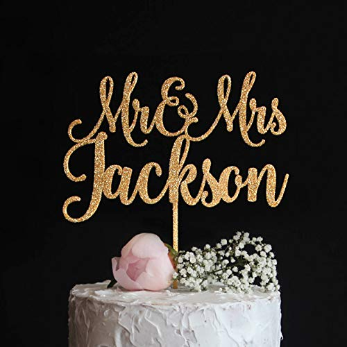 Custom Wedding Cake Topper With Last Name Elegant Mr And Mrs Cake Topper Sweet Wedding Cake Topper Rose Gold Silver Glitter