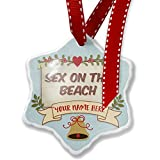 Add Your Own Custom Name, Sex on the Beach Cocktail, Vintage style Christmas Ornament NEONBLOND