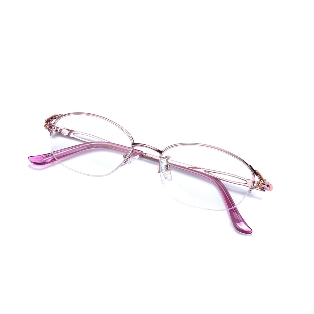 Rafbenson Fashion Eyewear Half Frame Metal Red Reading Glasses Women (Red, +3.0)