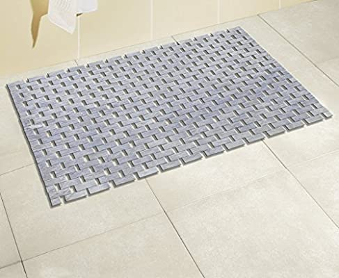 Moderna alfombra de ba/ño para ducha y ba/ñera mDesign Alfombra de ducha de pl/ástico PVC Alfombra antideslizante rectangular para el ba/ño con ventosas azul