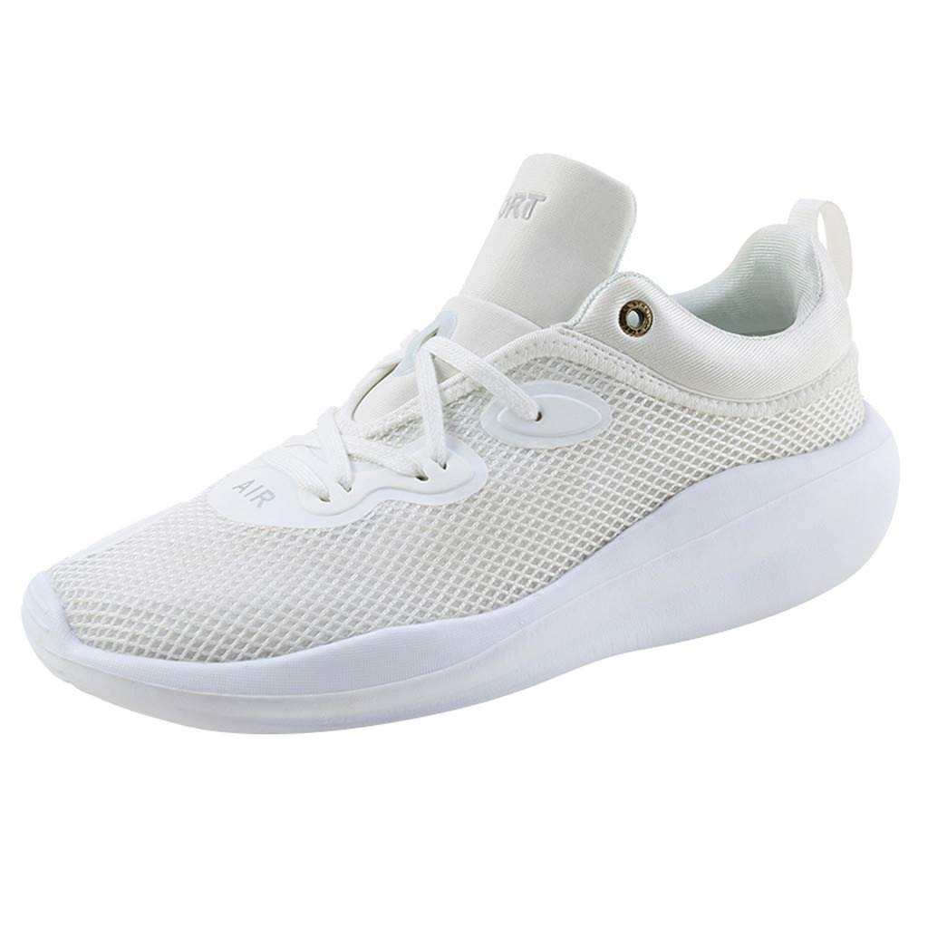 Thick Sneakers Men Women,Mosunx Athletic 【Couple Mesh Elastic Lace Up】 Sport Shoes Platform Solid Fashion Casual Gym Runing Shoes (6 M US, White) by Mosunx Athletic