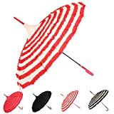 Outgeek Ladies Sunproof Umbrella Parasol Lace Flowers Pagoda-Shaped Victoria Style (Red and White)