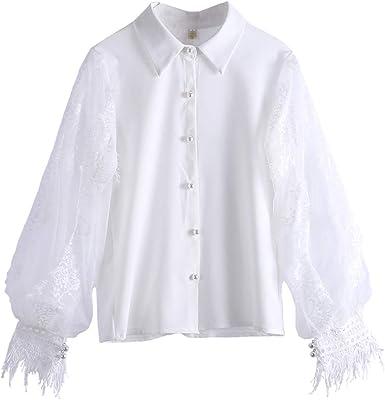 Gysad Camisa Mujer Manga Linterna Camisa Mujer Blanca Diseño de Encaje Camisa Mujer Manga Larga Blanca Estilo Retro Blusa para Mujer Elegantes Size S: Amazon.es: Ropa y accesorios