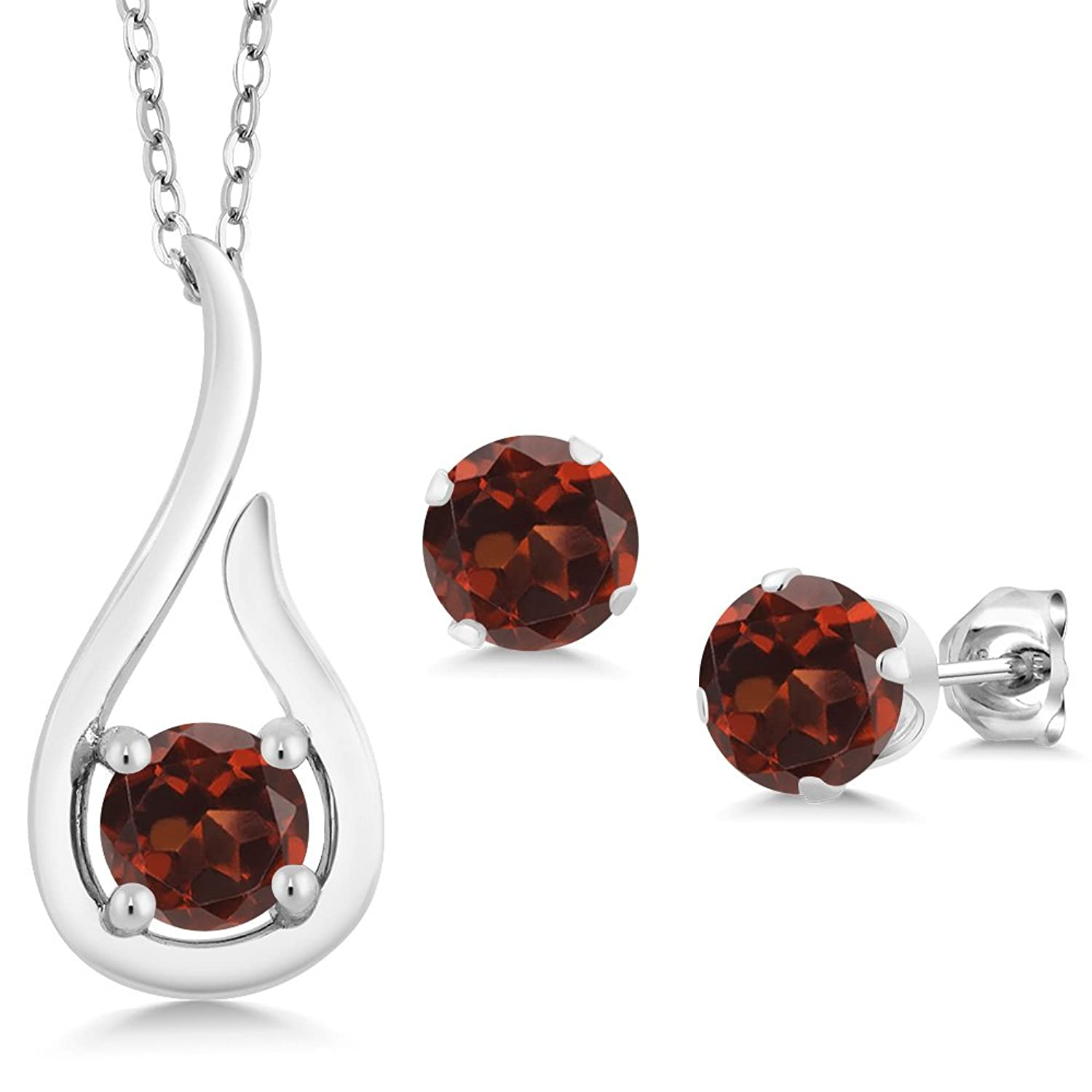 1.80 Ct Round Red Garnet 925 Sterling Silver Pendant Earrings Set With Chain