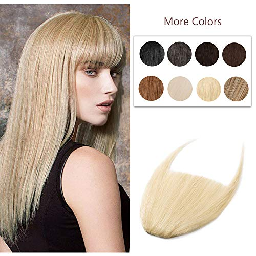 Clip In Bangs 100% Remy Human Hair Extensions One Piece front Neat Fringe Hand Tied Straight Bangs Clip On Hairpiece With Temples For Women #613 Bleach Blonde 25g