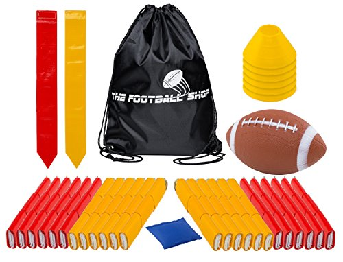 Team Edition Flag Football Set for 24 Players - Includes Durable Flag Belts and Flags, Cones, Bean Bag, Carrying Backpack, and Football - Huge 67 Piece Complete Set