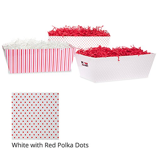 Medium Valentine Gift Tray Basket - White with Red Polka Dots (Polka Tray White Dots)