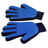 Pet Grooming Glove Brush Deshedding Glove (Pet Massage Tool) for Dogs, Cats, Horses, Rabbits (1 Pair: Left Hand and Right Hand (Blue))