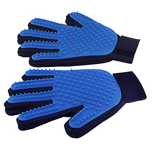 Pet Grooming Glove - Gentle Deshedding Brush Glove - Efficient Pet Hair Remover Mitt - Massage Tool for Pets - Perfect for Dogs & Cats with Long & Short Fur (1 Pair: Left Hand and Right Hand (Blue))