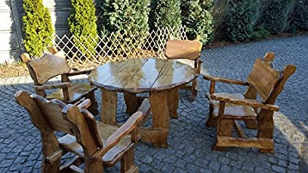 massivholz garten möbel mit runden tisch