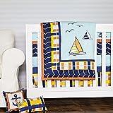 DK Leigh Crib Bedding Set, Sailboat Nautical Plaid Baby, 10 Piece