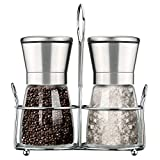 Primacc Salt and Pepper Mills Set, Stainless Steel Spice Grinders Pepper Mill with Matching, Stand Adjustable Ceramic and Solid Glass for Cooking Dinner Picnic