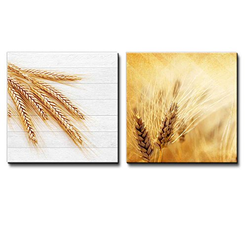 Branches of Wheat Over White Wooden Panels Along with a Field of Wheat Over a Vibrant Gold Background