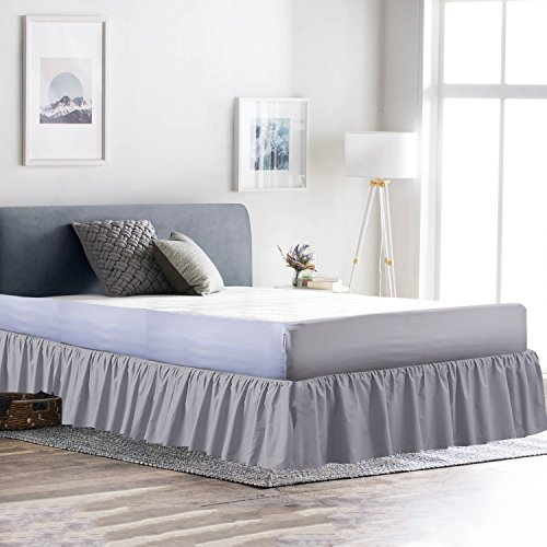 Rajlinen Ruffle/Gathering Bed Skirt Genuine Poly Cotton Bed Wrap with Platform (+18 Inch Drop)- Easy Fit Gathered Style 3 Sided Coverage (Full, Light Grey)