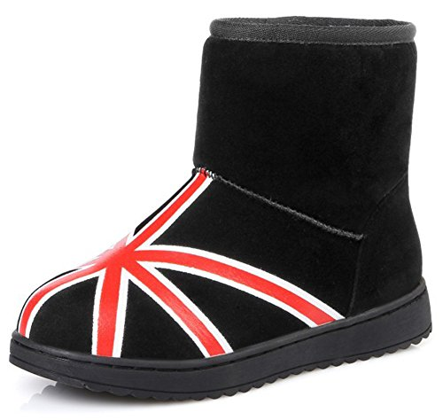 Summerwhisper Mujeres Warm Imitación De Gamuza Estampado Round Toe Fleece Forrado Corto Botas De Nieve Zapatos Antideslizantes Pisos Tobillo Botines Negro