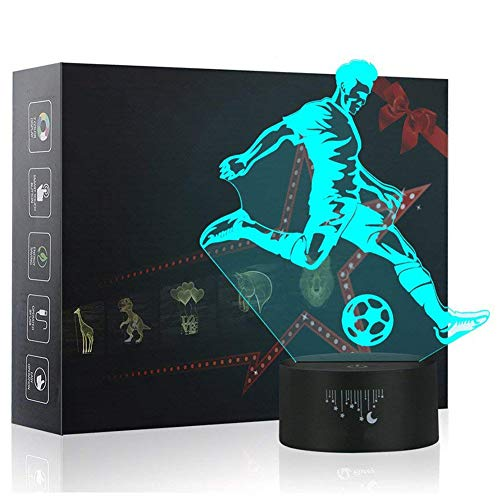 3D Night Light, LED Lamp for Kids, Soccer Toys for Boys, 7 Colors Touch Table Desk Lamps, Baby Bedroom Sleep Night Light, Birthday Party Holiday Gifts for Children]()