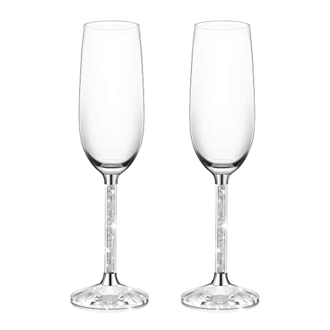 34be02541b1 IFOLAINA Champagne Glasses Set of 2 Christmas Flutes Lead Free 8 Ounce with  Clear Long Crystal