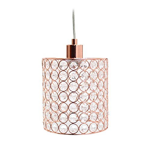 Rose Chandelier - Elegant Designs PT1001-RGD 1 Light Elipse Crystal Cylinder Pendant 1 Lt, Rose Gold