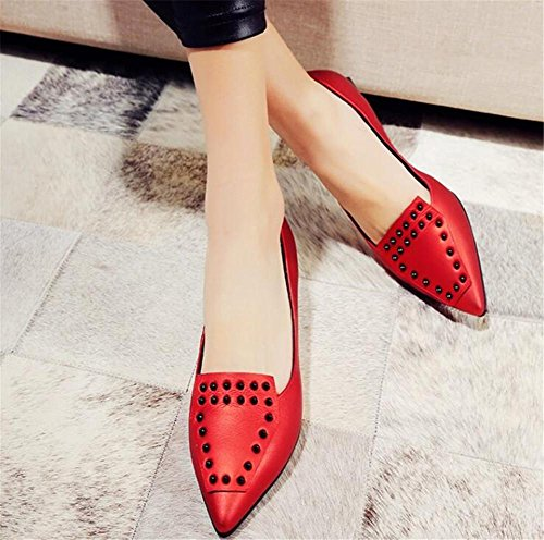 Rivet plate Mocassins Chaussures Bout 35To41 pointu Taille Femmes Ballerine red Cuir véritable CRWHx6wRqt
