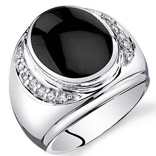 Mens Oval Cut Onyx Godfather Ring Sterling Silver Size 10 - 10 Oval Mens Ring Setting