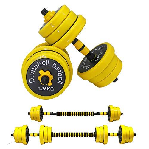 JOOYHOOM Adjustable Dumbbell Barbell Weight Pair, Free Weights Dumbbells 2-in-1 Set 22LB/33LB/44LB/66LB, Weights…