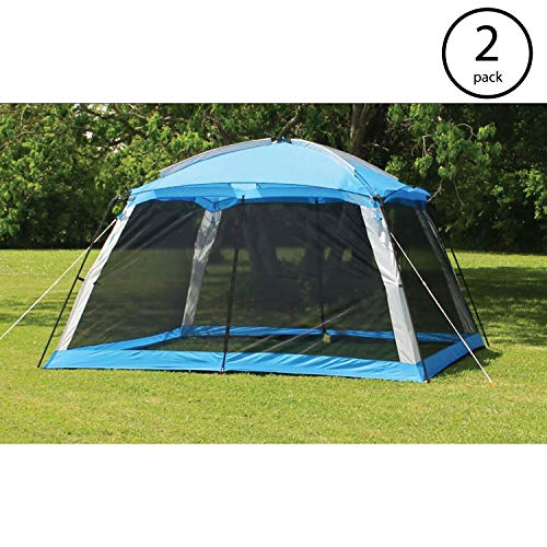 Texsport Montana Outdoor Camping Instant Screen Arbor Shade Canopy Tent, Blue (2 Pack) -