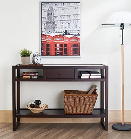 Furniture Of America Neviah Open Contemporary Modern Espresso Narrow Entryway  Entrance Hall Table   Console Table