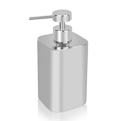 Homitex Dispensador De Jabón De Acero Inoxidable para encimera del baño con aplicador manual por presión