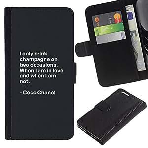 For Apple iPhone 6 Plus(5.5 inches),S-type® Coco Quote Fashion Motivational Design - Dibujo PU billetera de cuero Funda Case Caso de la piel de la bolsa protectora