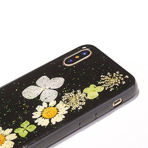 iPhone x Cristal Claro Funda, SXUUXB iPhone 10 Naturaleza Hecho a mano Colorido Real Secado Flor y Hoja Serie Patrón Híbrido Bumper Jelly Caja, TPU Caucho Gel UltraFina Skin Resistente a arañazos Prot Negro 4