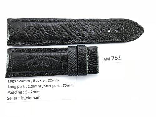 AM752 ( US3 ) # Black GENUINE OSTRICH LEATHER SKIN WATCH STRAP BAND 24mm / 22mm